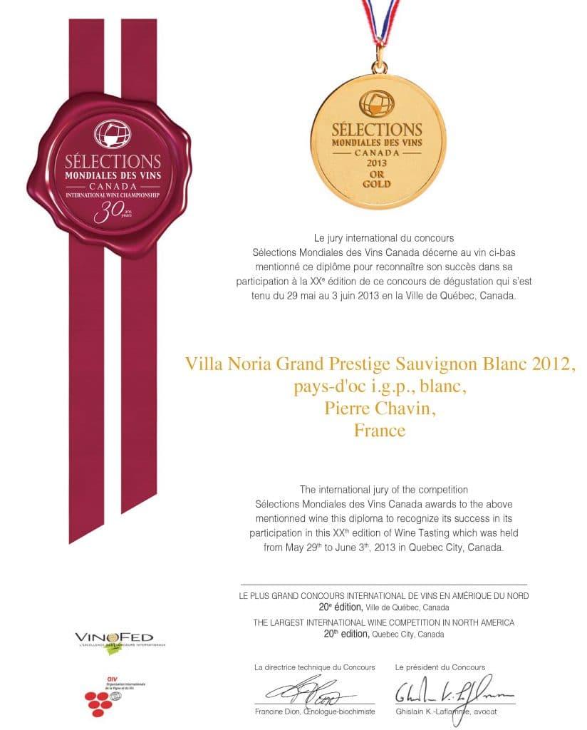 Médaille d'or - Sélection mondiale des vins du Canada